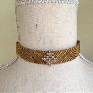 Vintage Gold Mesh Rhinestone Chocker Necklace